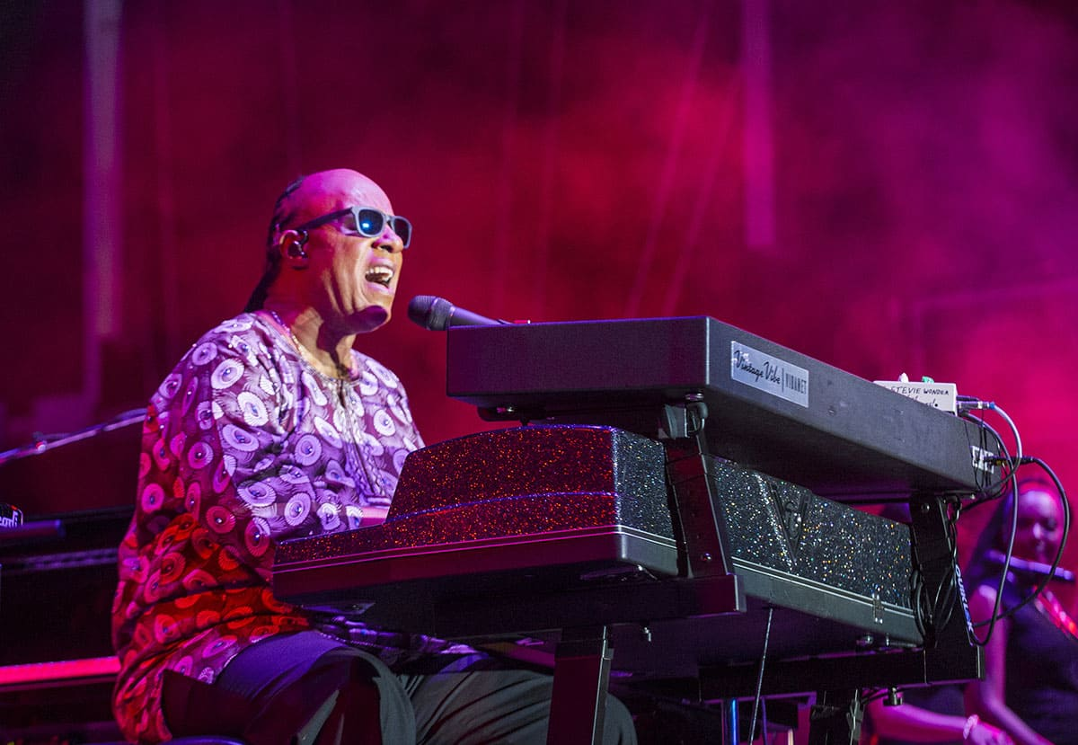 Musician Stevie Wonder performs onstage during day 1 of the 2015 Life Is Beautiful Festival on September 25, 2015, in Las Vegas, Nevada