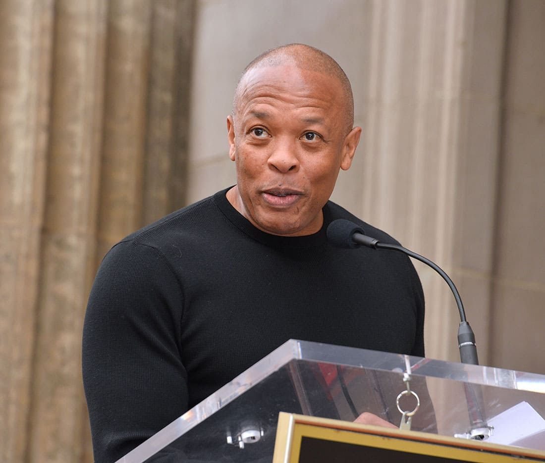 Dr. Dre at the Hollywood Walk of Fame Star Ceremony honoring Snoop Dogg.