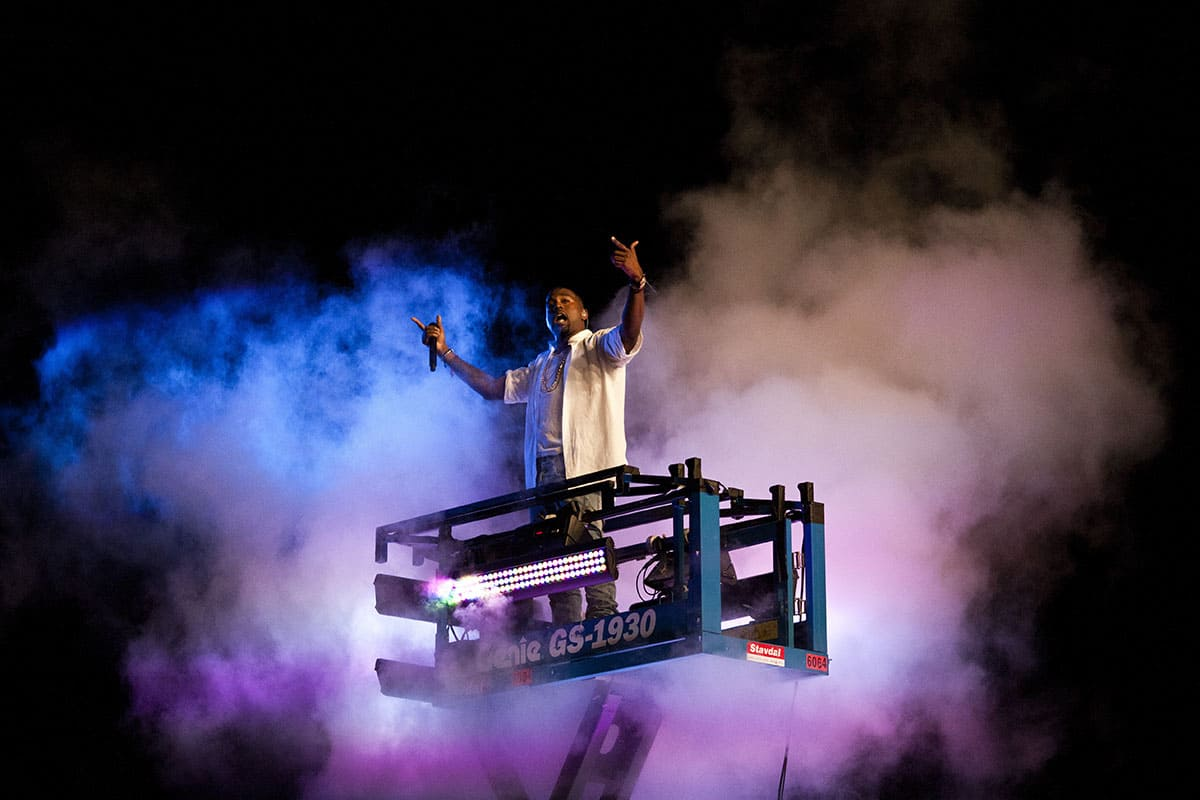 Kanye West performs at the Way Out West festival on August 13, 2011, in Gothenburg, Sweden.